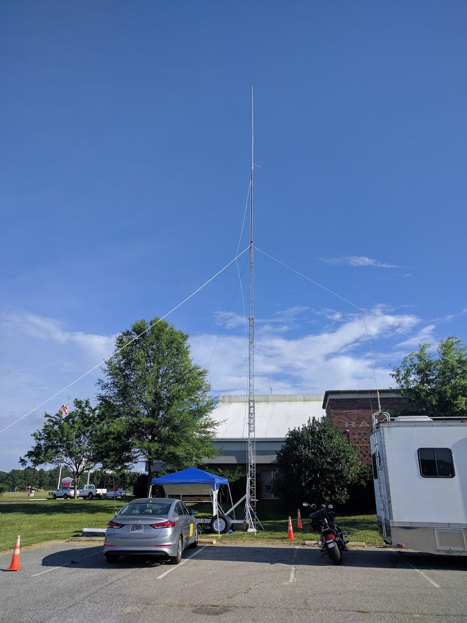 The BRATS trailer tower and antenna setup for the MS150 Chesapeake Challenge